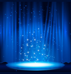 Blue stage with spotlight vector
