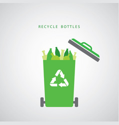 Bottles in a green recycling bin vector