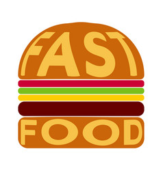Burger with text fast food on bun vector