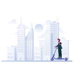 businessman on electric scooter vector image