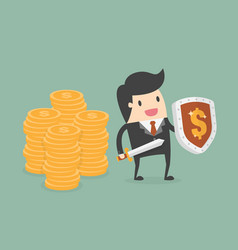 businessman protecting money with shield and sword vector image