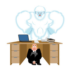 Businessman scared under table of yeti to hide vector