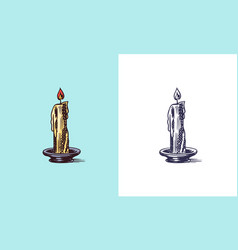 candle and ignitable wick embedded in wax vector image