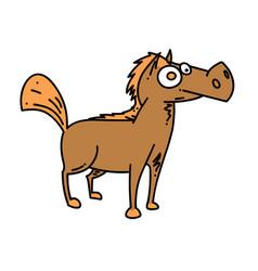 Cartoon horse cartoon hand drawn image vector