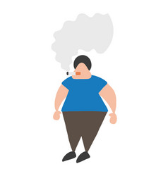 cartoon man standing and smoking cigarette vector image