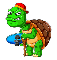 cartoon old turtle carrying skateboard and vector image