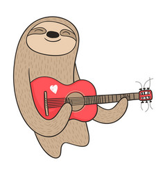 cartoon sloth playing the guitar vector image