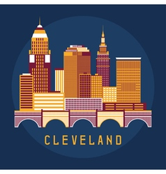 Cleveland ohio usa flat design of skyline vector