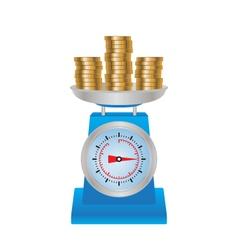 Coins on the scales vector