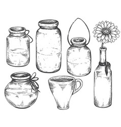 collection hand drawn vases and jars vector image