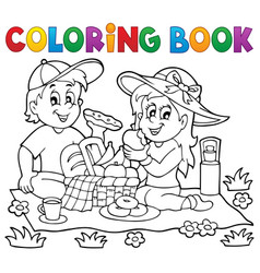 coloring book picnic theme 1 vector image