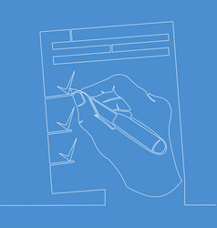 continuous one line pen in hand signs documents vector image
