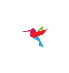 creative geometric hummingbird logo vector image