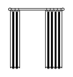 Curtain semi open black color section silhouette vector