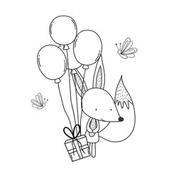 Cute and little fox with balloons helium vector
