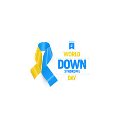 down syndrome ribbon blue and yellow medical vector image