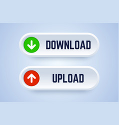 Download and upload button in 3d style with arrow vector