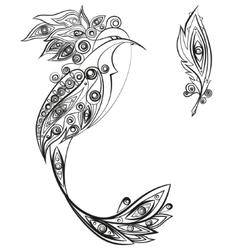 Ethnic ornament bird vector image