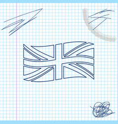 flag great britain line sketch icon isolated on vector image
