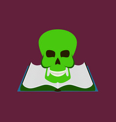 Flat on background of book skull vector
