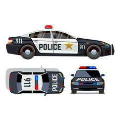 Flat-style cars in different views police vector