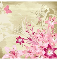 floral watercolor background with lilies vector image