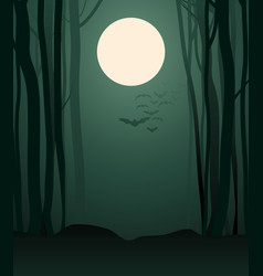 Foggy forest in the light of the full moon and vector