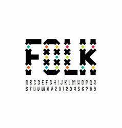 Folk style font design alphabet letters and vector