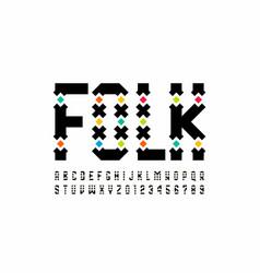 Folk style font design alphabet letters vector
