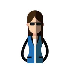 Girl brunette glasses jacket image vector