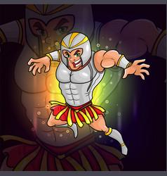 Gladiator with helmet armor esport logo design vector