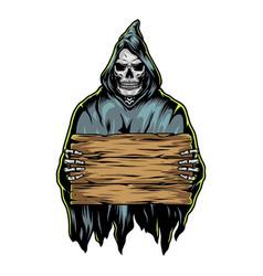 grim reaper holding blank wooden board vector image