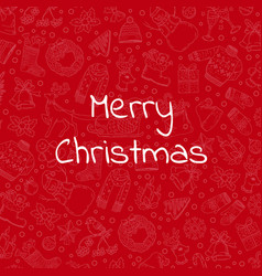 hand drawn christmas red background vector image