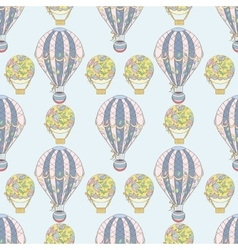 Hand-drawn seamless air balloon pattern vector