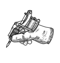 Hand with tattoo machine design element vector