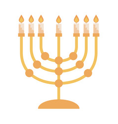 Hanukkah and golden lights ceremony flat vector