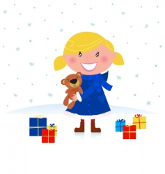 happy Christmas girl and gifts vector image