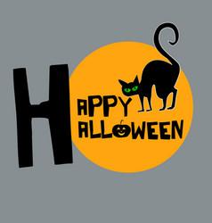 happy halloween with black cat background vector image