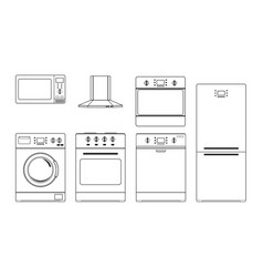 home appliances outline drawings vector image