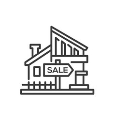 house for sale - line design single isolated icon vector image