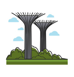 Huge creative towers with bowls on top and metal vector