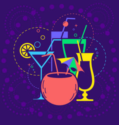 Icon dark background cocktail party vector