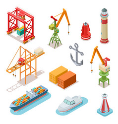isometric ships sea transport maritime terminal vector image