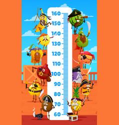 Kids height chart cartoon fruit pirates corsairs vector