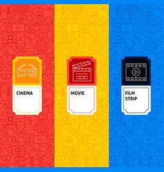 Line cinema package labels vector