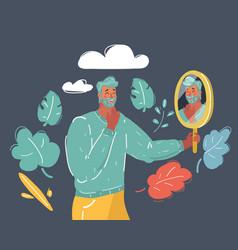 Man look his own sad reflection in mirror vector