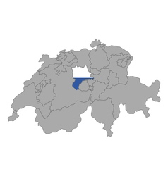 Map of Switzerland with flag of Luzern vector image