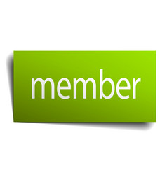 Member green paper sign on white background vector