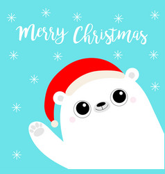 merry christmas white polar bear waving hand paw vector image
