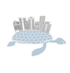 Metropolis on shell water turtles City skyscrapers vector image